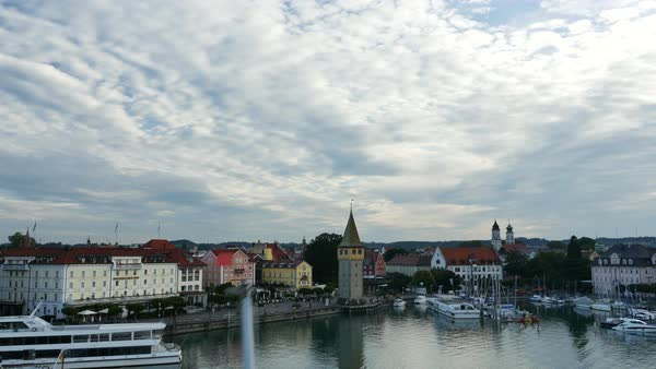 Aerial shot of a port of Lindau Royalty-free stock video
