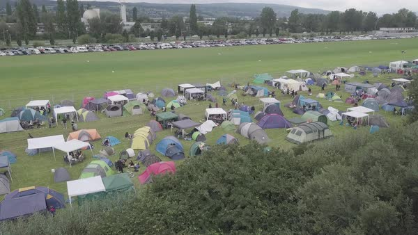 Drone shot of tents at a music festival in Germany Royalty-free stock video