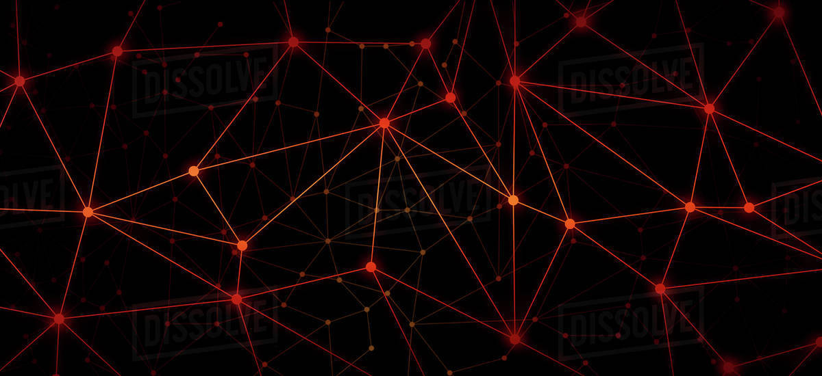 A Web Of Bright Red Dots Connected By Lines Against A Black
