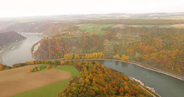 Panning shot of autumn trees on mountains, Middle Rhine, Rhineland, Germany Royalty-free stock video