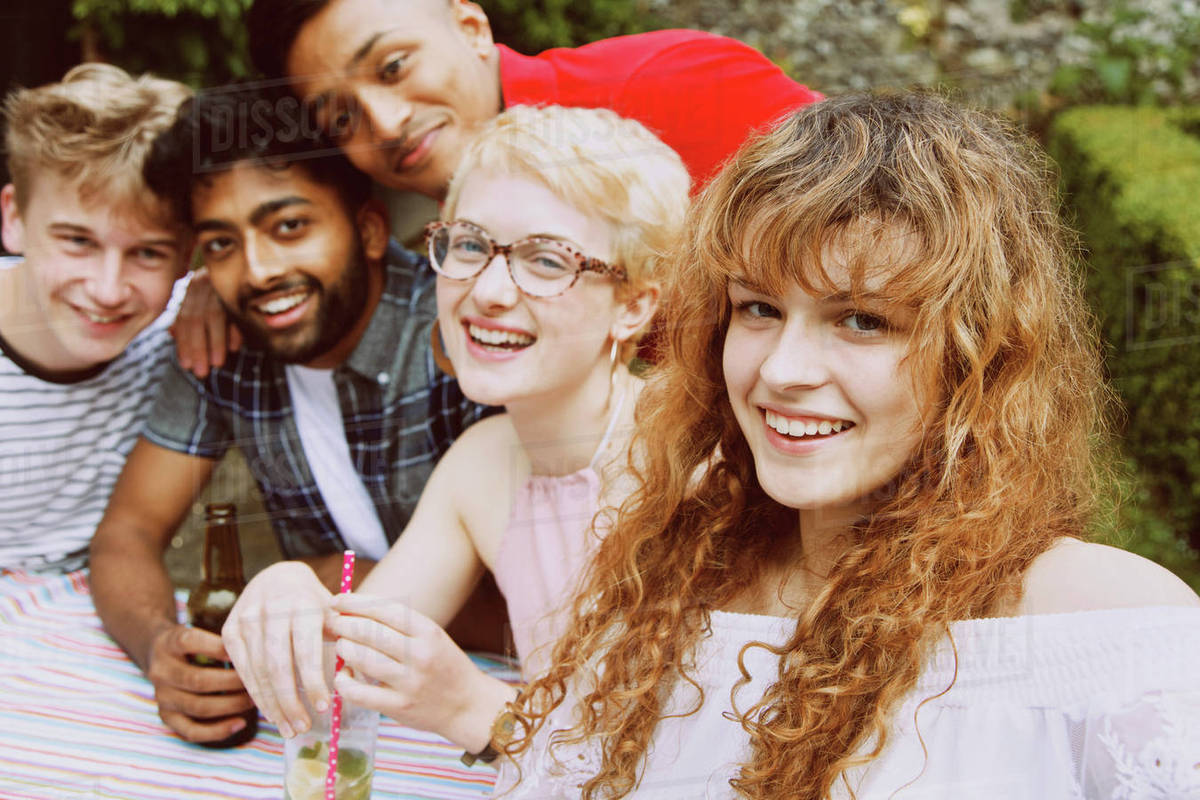 Portrait of happy friends enjoying party at yard Royalty-free stock photo