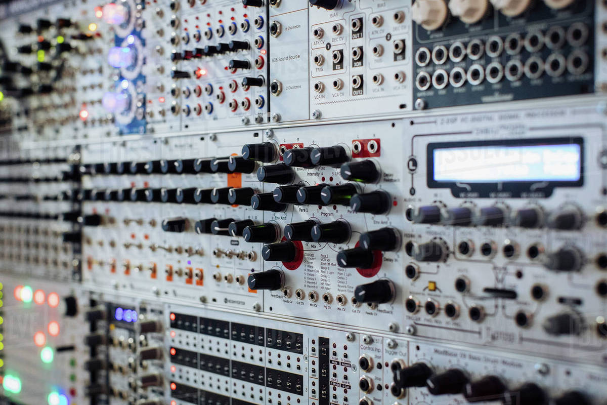 Full Frame Shot Of Modular Set Up At Recording Studio Stock Photo