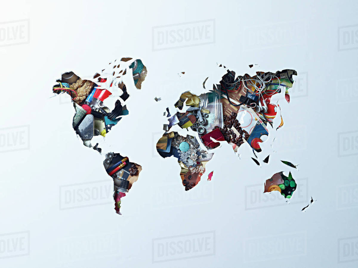 High angle view of world map outline over objects stock photo high angle view of world map outline over objects gumiabroncs Gallery