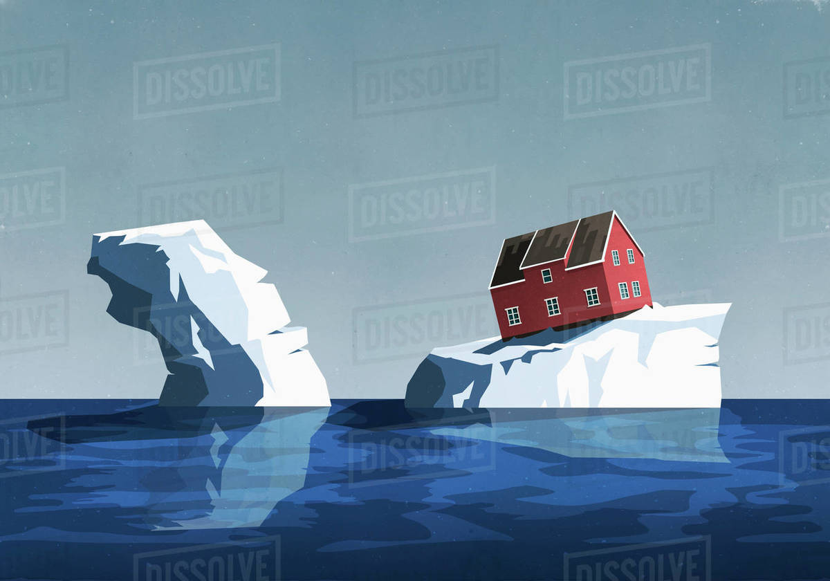 House perched precariously on iceberg Royalty-free stock photo