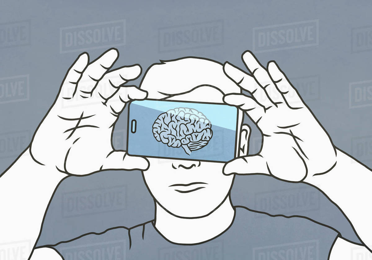 Brain on smart phone screen over mans face Royalty-free stock photo