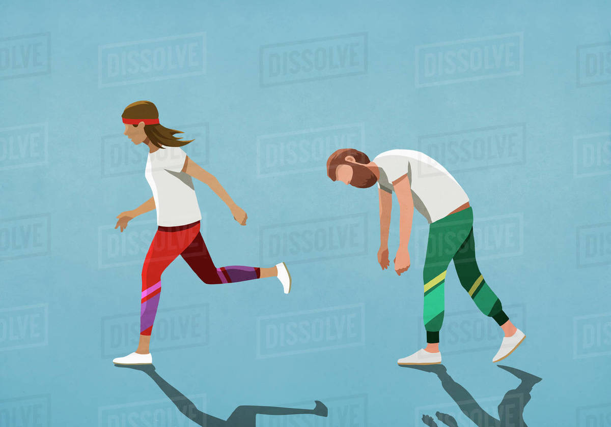 Tired husband following running wife Royalty-free stock photo