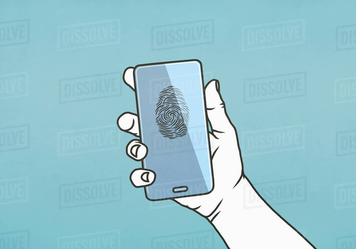 Hand holding smart phone with fingerprint Royalty-free stock photo