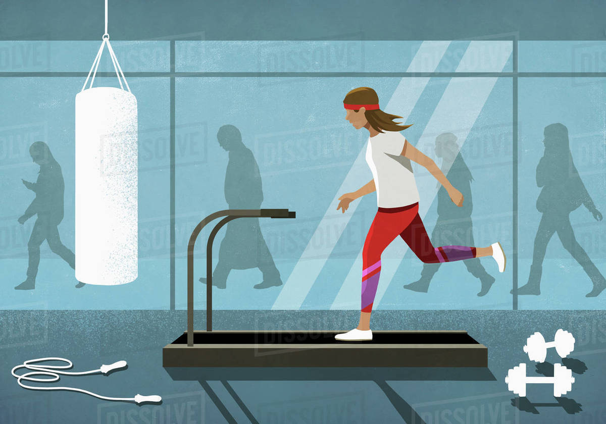 Business people walking behind woman running on treadmill Royalty-free stock photo