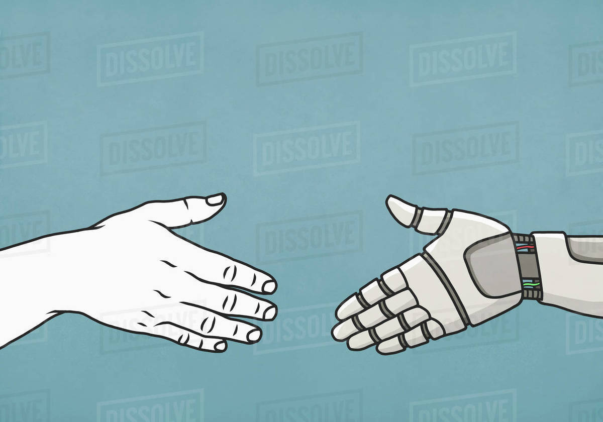 Human and robot shaking hands Royalty-free stock photo