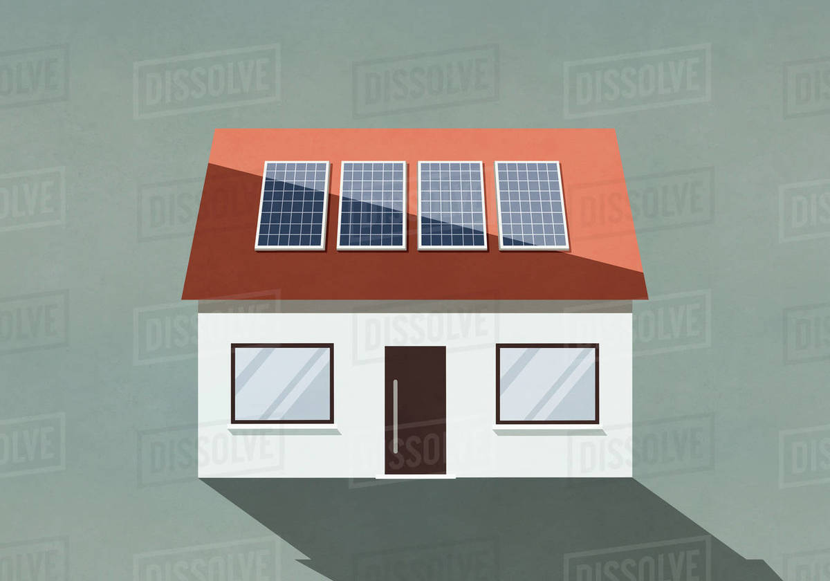 House with solar panels on roof Royalty-free stock photo
