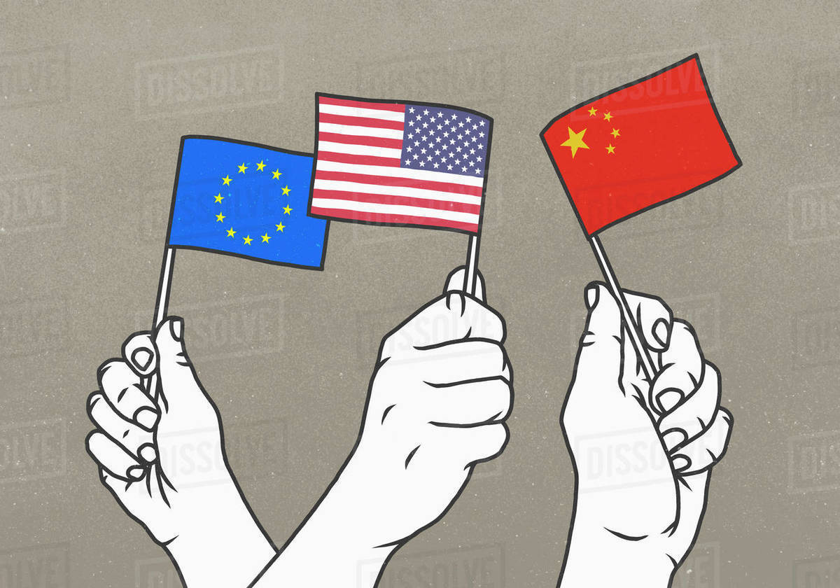 Hands waving small European Union, American and Chinese flags Royalty-free stock photo