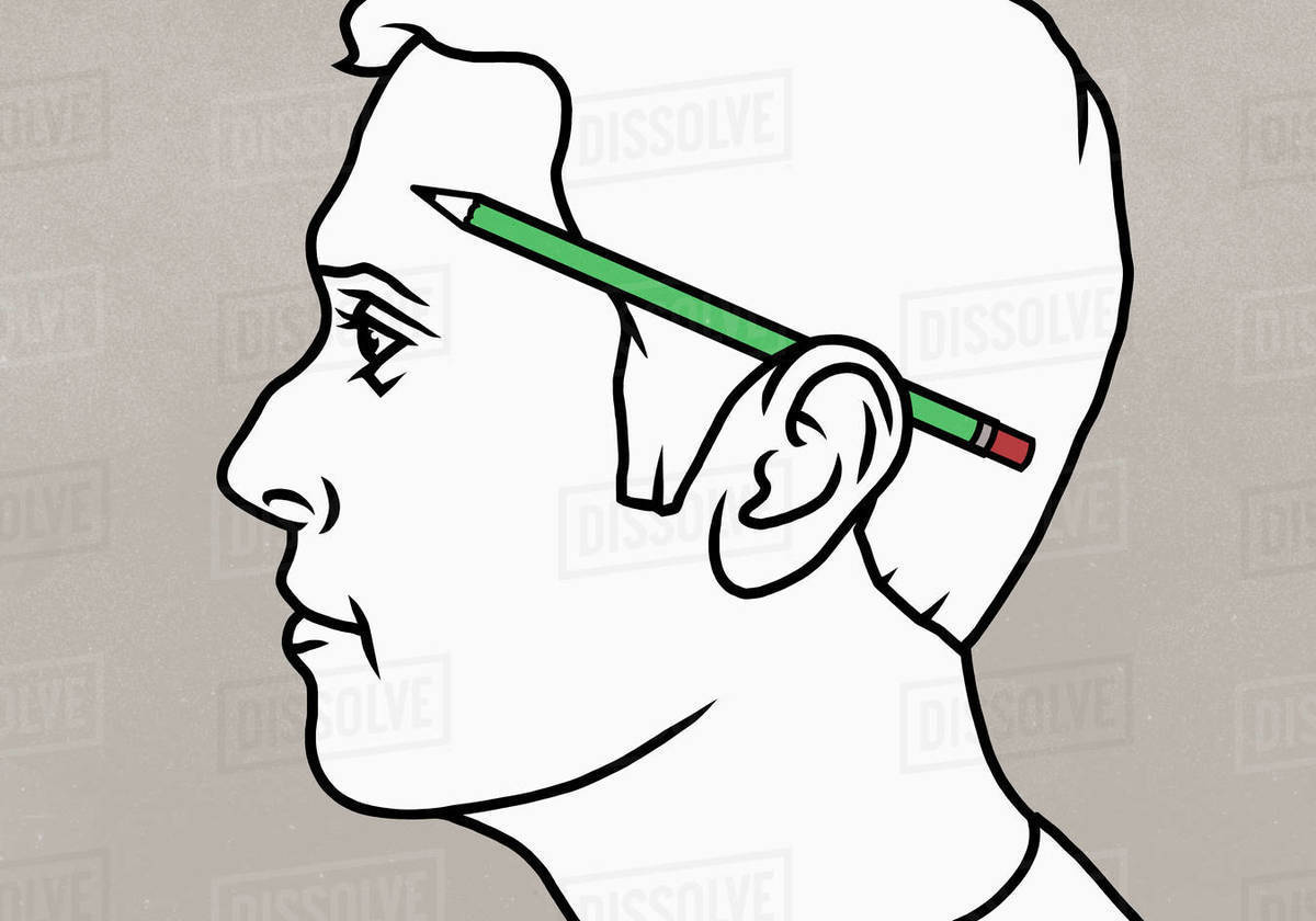 Pencil over mans ear Royalty-free stock photo