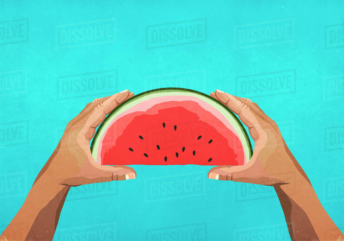 Personal perspective hands holding watermelon slice Royalty-free stock photo