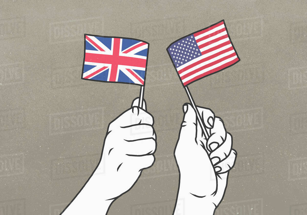 Hands waving small British and American flags Royalty-free stock photo