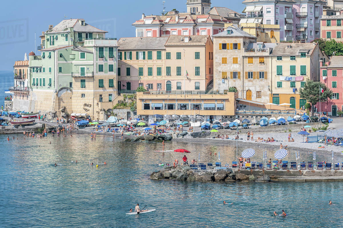 View of colorful waterfront buildings and tourist beach, Bogliasco, Liguria, Italy Royalty-free stock photo