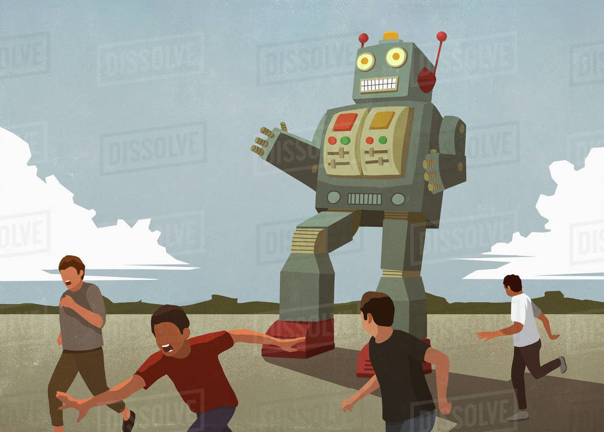 Large robot chasing boys Royalty-free stock photo