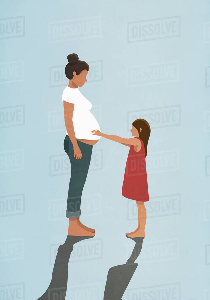 Curious daughter touching pregnant mothers stomach Royalty-free stock photo