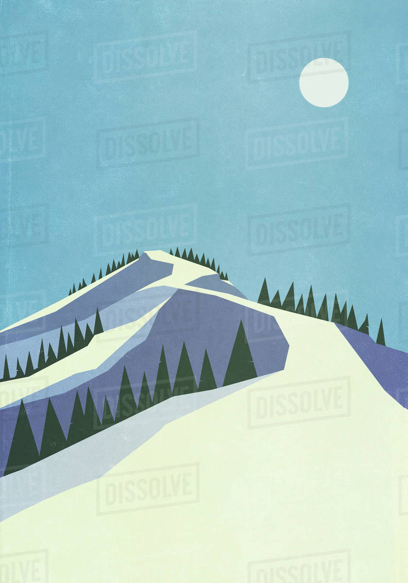 Full moon over snowy mountain slope Royalty-free stock photo
