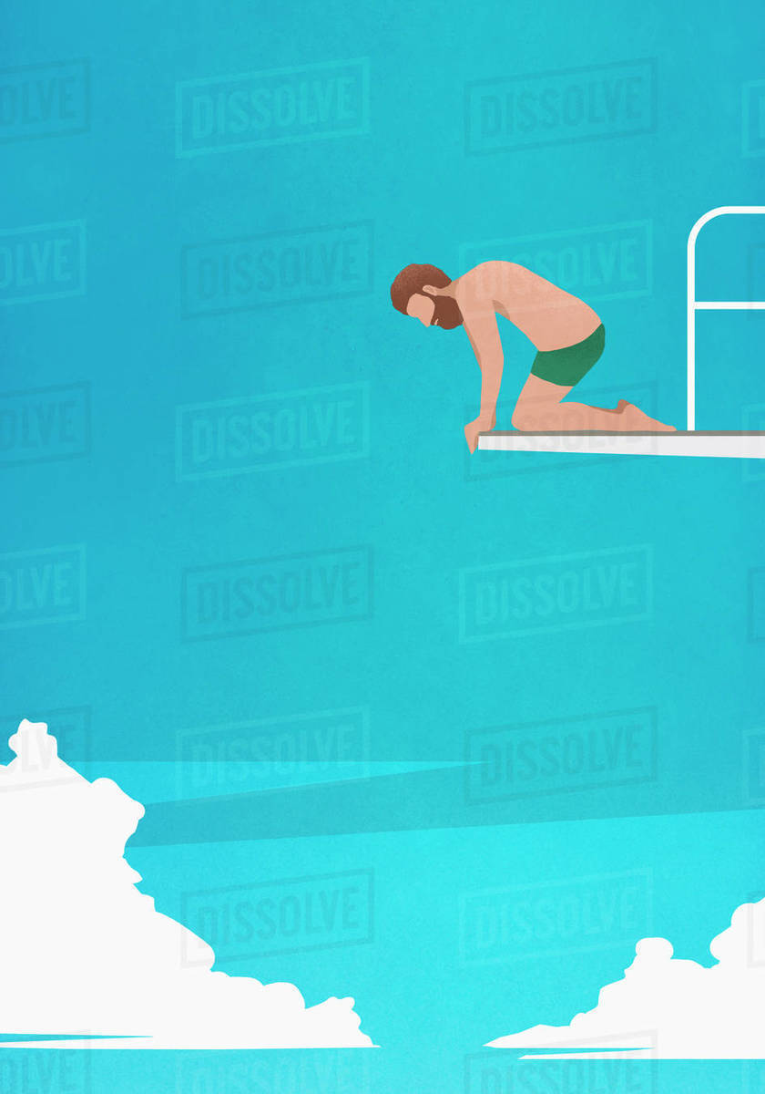 Anxious man at the edge of diving board, looking down Royalty-free stock photo