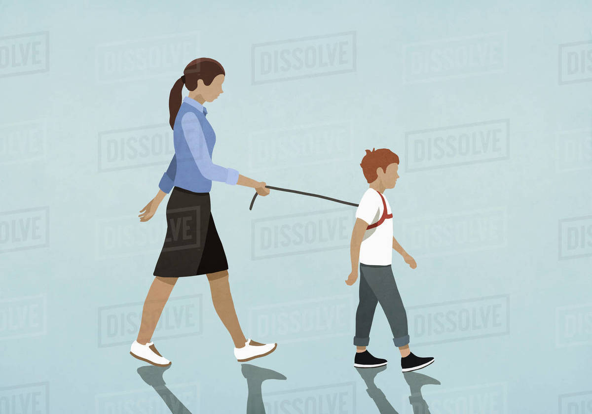 Mother walking son with harness Royalty-free stock photo