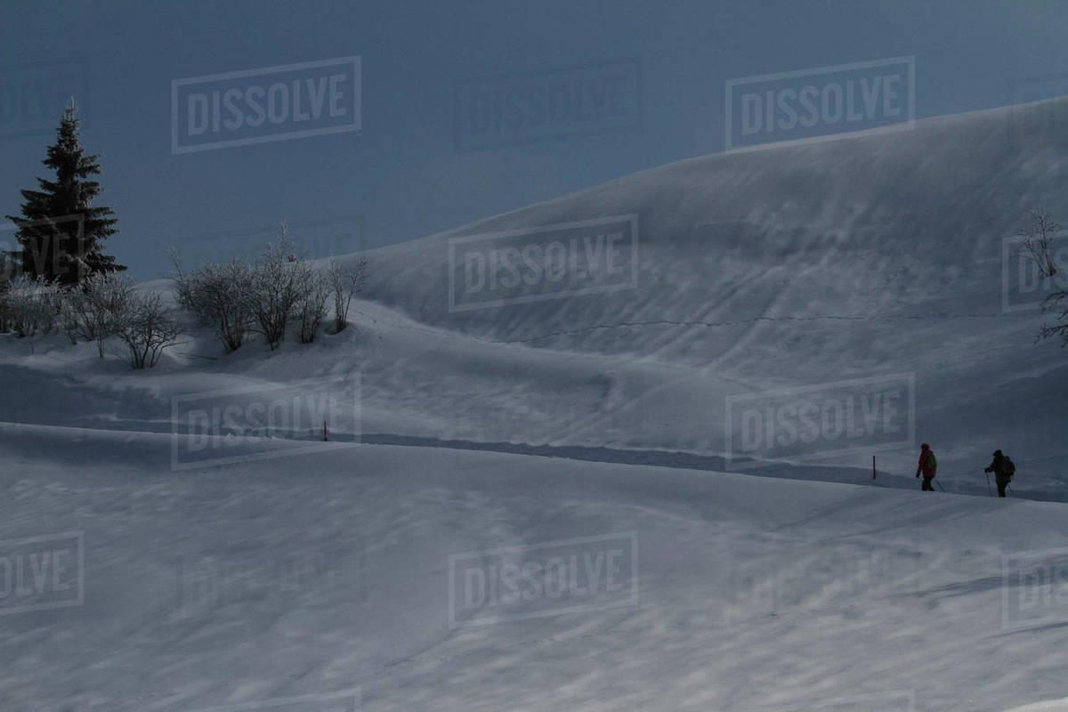 People snowshoeing on snow covered mountain, Surcuolm, Canton of Grisons, Switzerland Royalty-free stock photo
