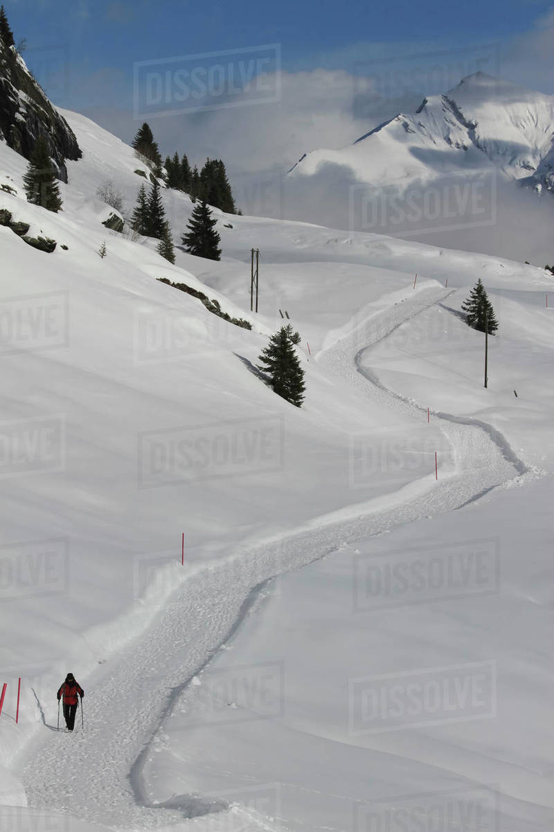 Snowshoer on sunny snow covered mountain trail, Vals, Canton of Grisons, Switzerland Royalty-free stock photo