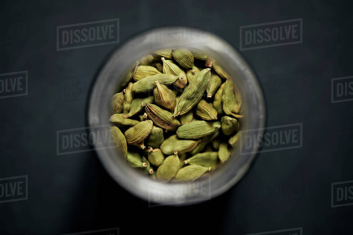 View from above cardamom seeds in spice jar Royalty-free stock photo