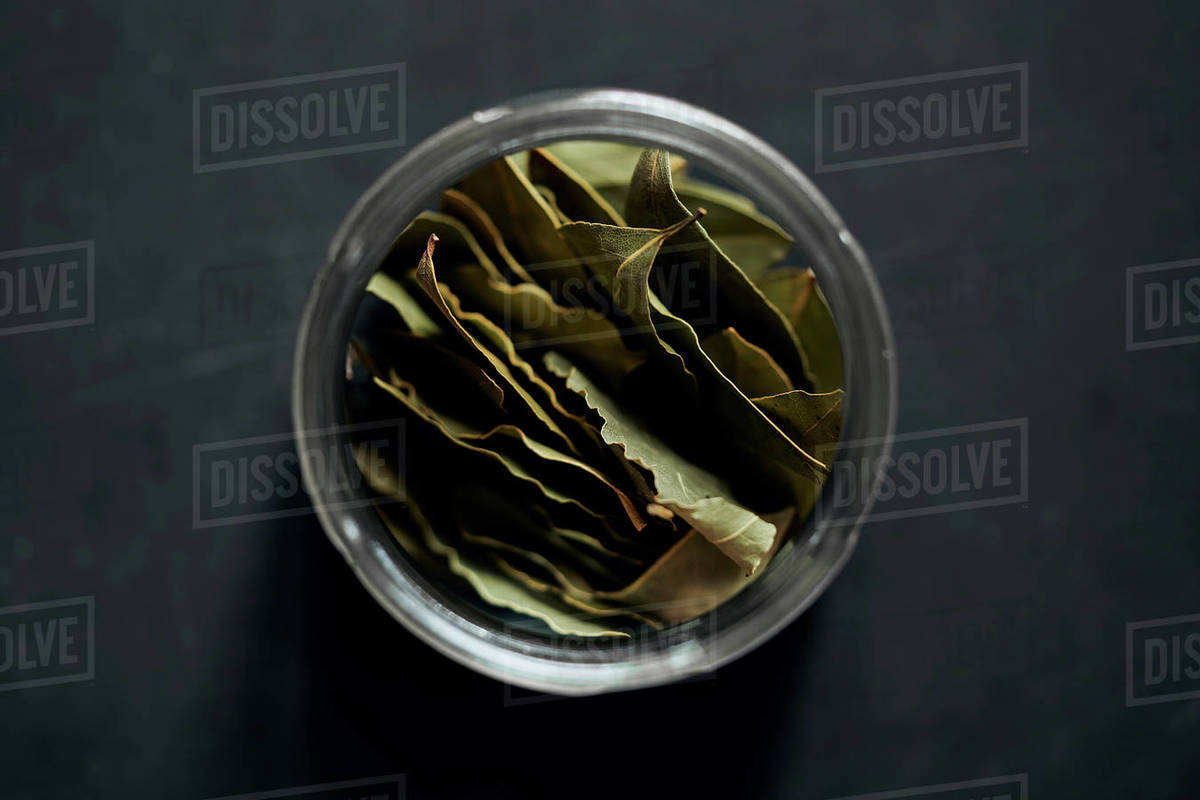 View from above bay leaves in spice jar Royalty-free stock photo