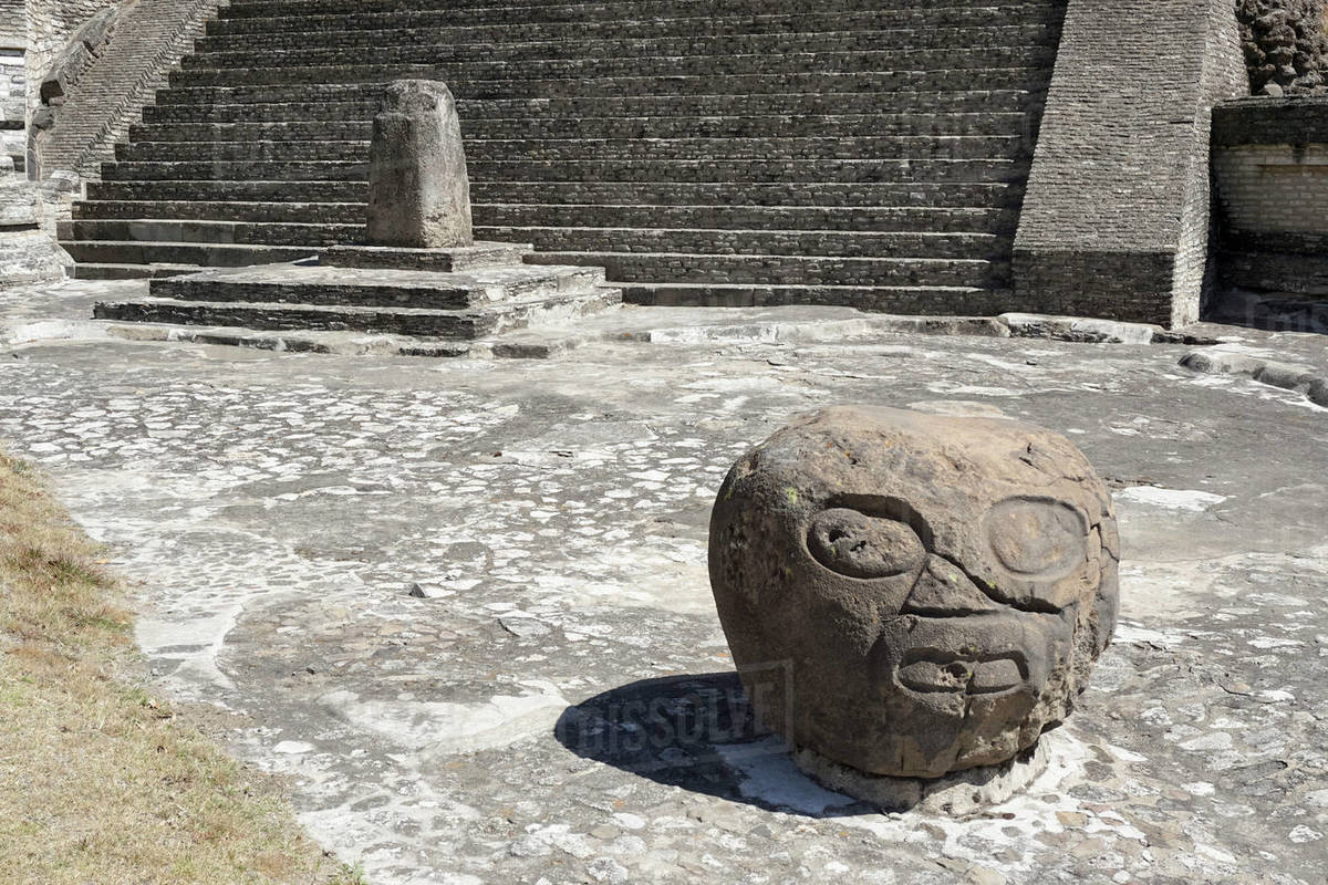 Carved rock, Cholula Pyramid, Cholula, Mexico Royalty-free stock photo