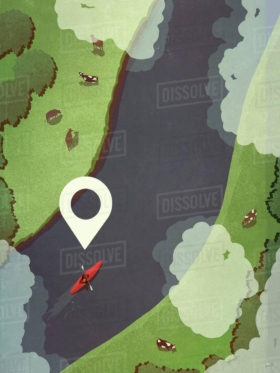 Map pin icon above person kayaking along rural river Royalty-free stock photo