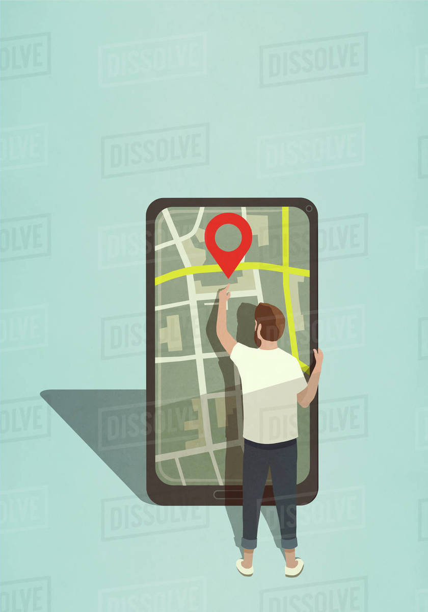 Man reaching for map pin icon on large smart phone Royalty-free stock photo
