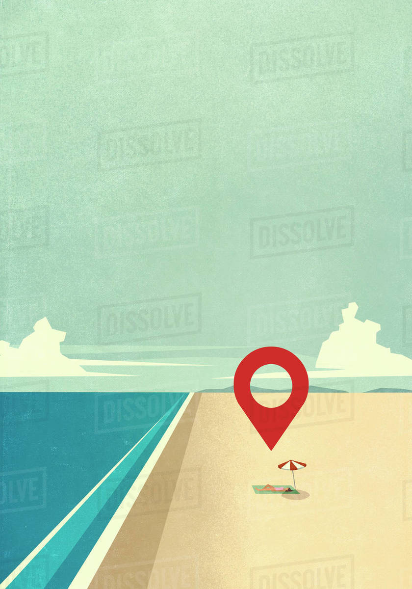 Map pin icon above woman laying on sunny ocean beach Royalty-free stock photo