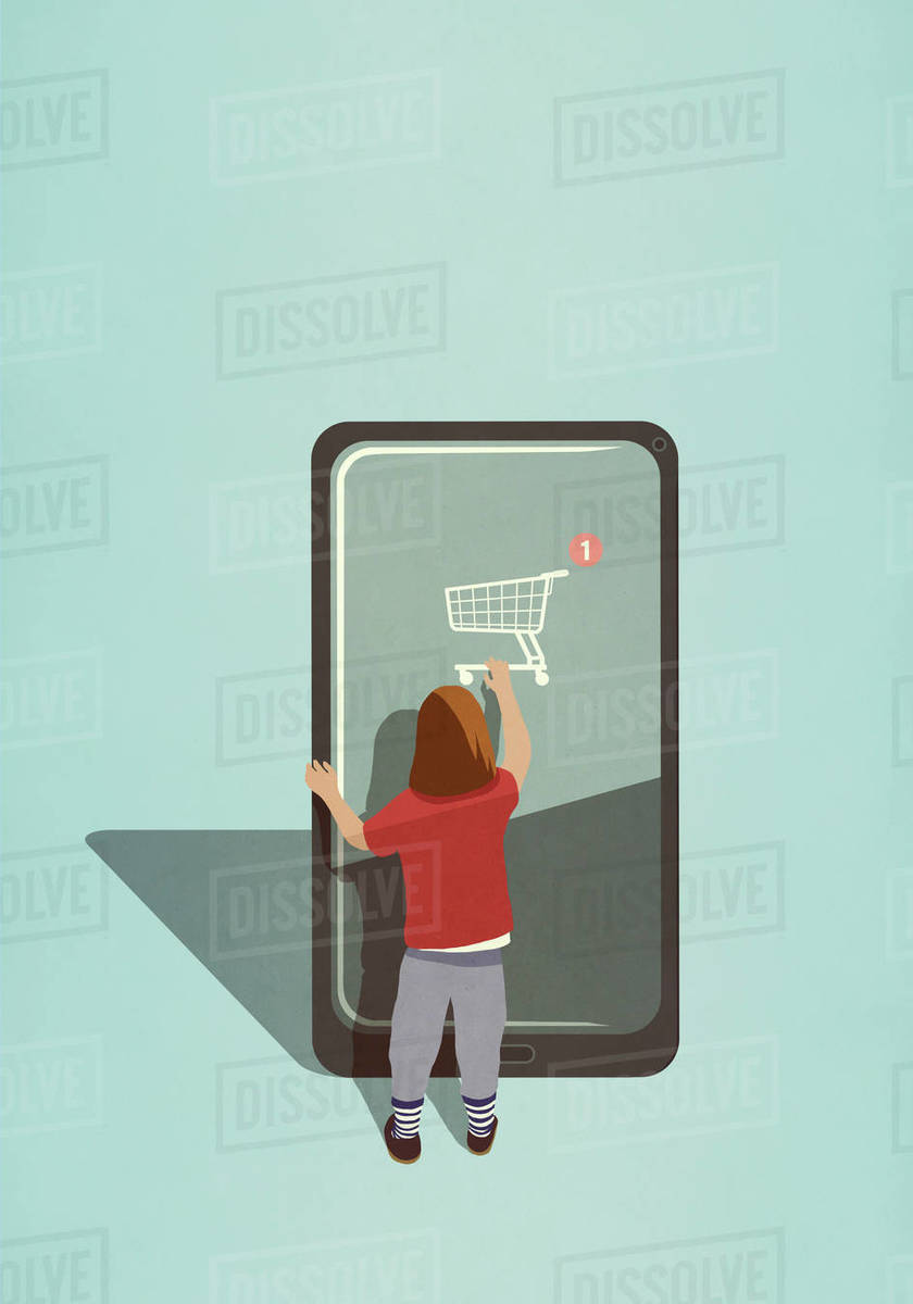 Girl using online shopping app on large smart phone Royalty-free stock photo