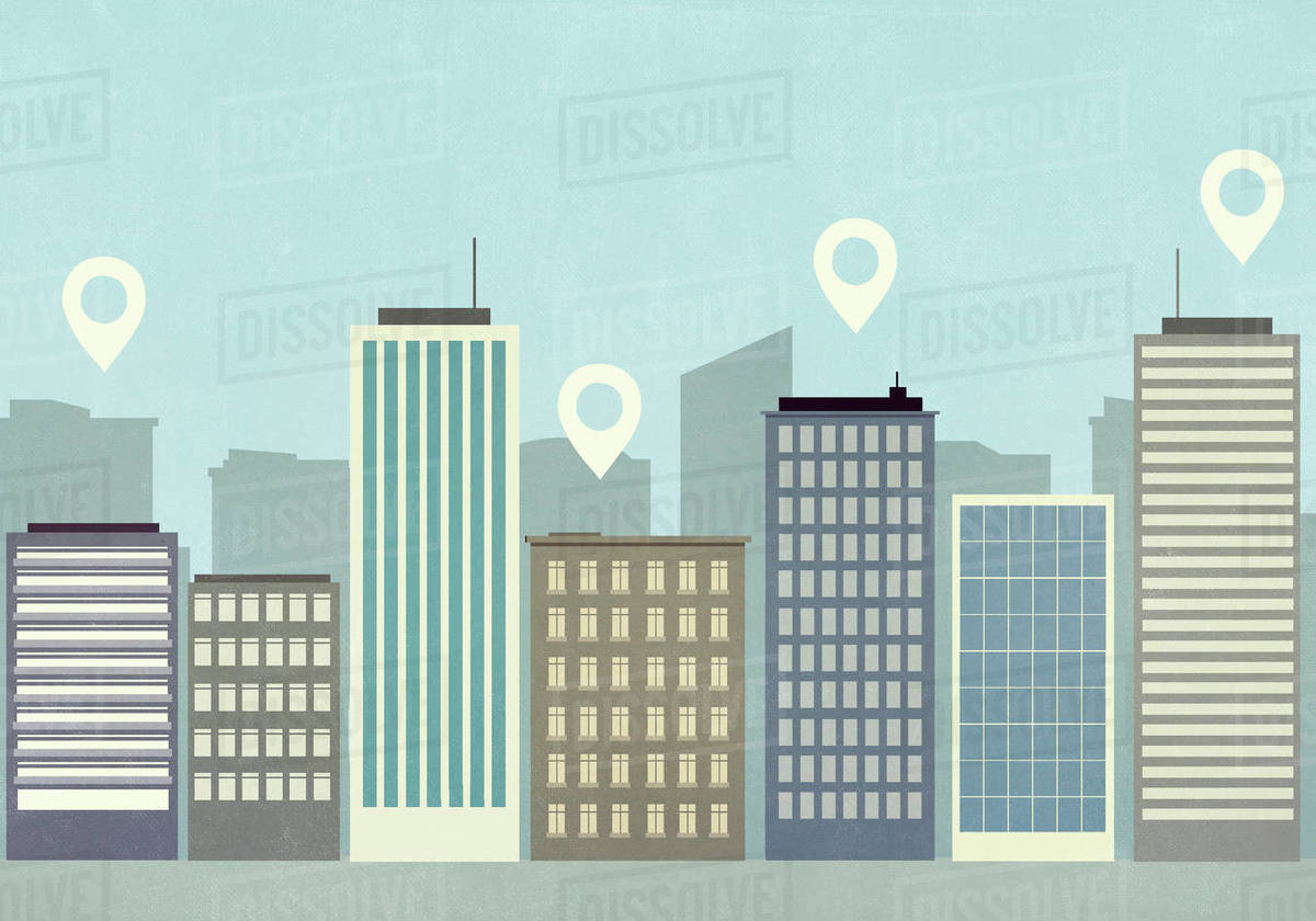 Map pin icons above highrise buildings in city Royalty-free stock photo