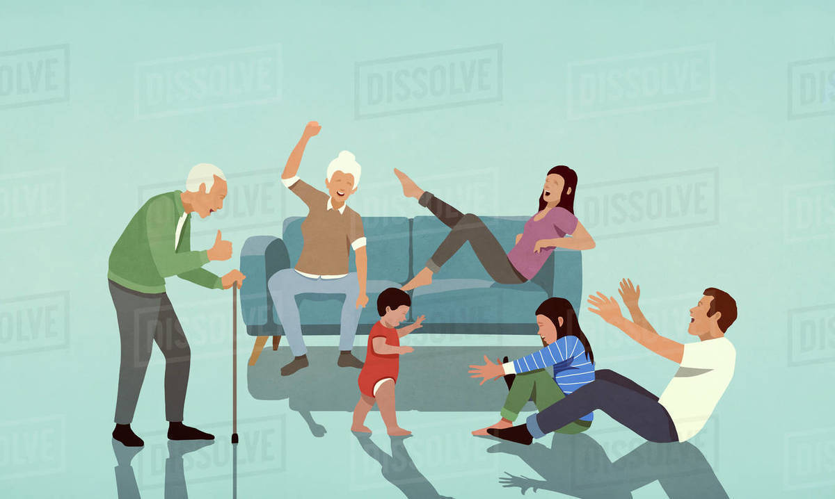 Happy multi-generation family cheering in living room Royalty-free stock photo