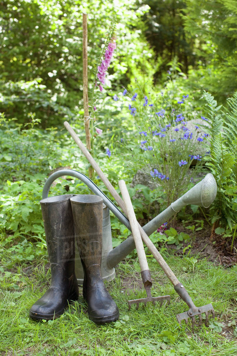 Gardening Tools And A Pair Of Rubber Boots Outdoors D9 9 588